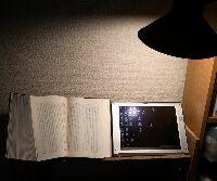 本と並べて照明